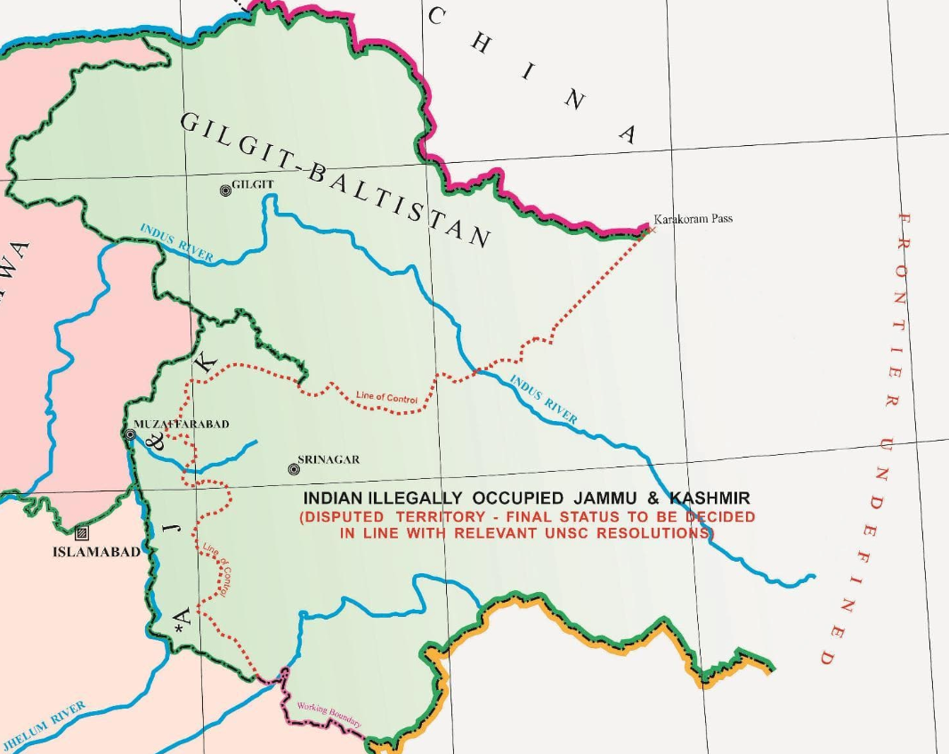 New political map of Pakistan included Occupied Kashmir