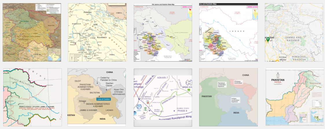 Maps of Jammu & Kashmir – by different Countries, Media, and Organisations